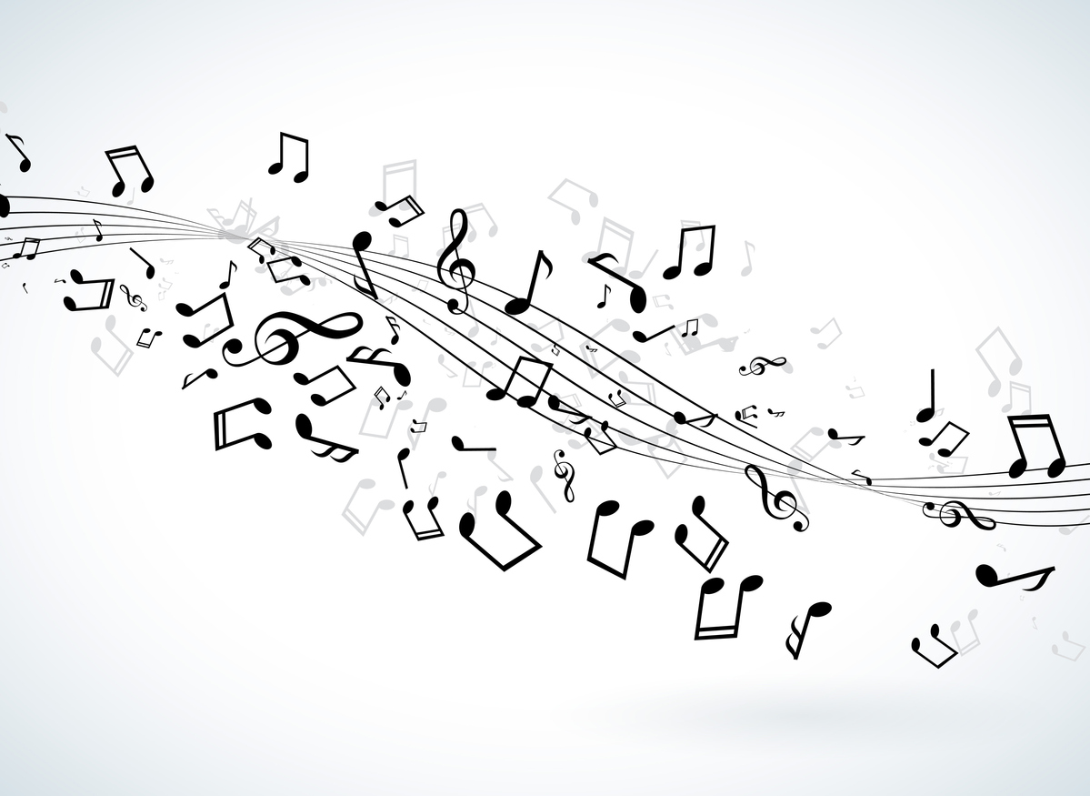 Music illustration with falling notes on white background. Vector design for banner, poster, greeting card.
