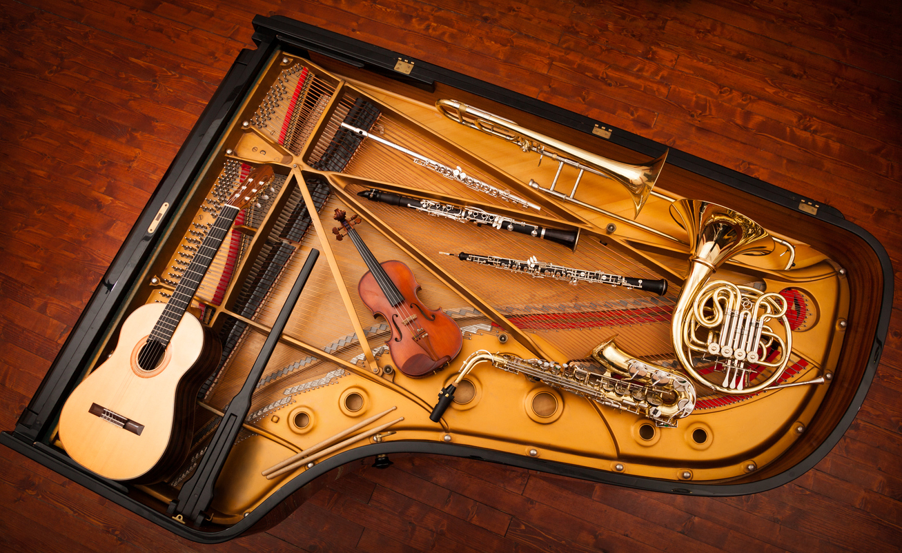 Musical instruments collage